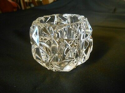 ebe29d7dcc35 Tiffany   Co Crystal Rock Cut Votive Candle Holder Signed