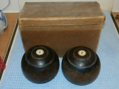 Antique Mackay Edinburgh Scottish Heavy Wood Lawn Bowls No.1&2 in Box