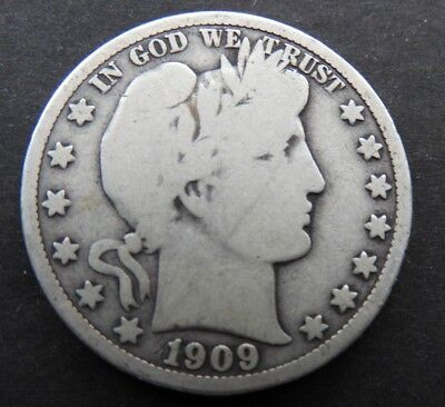 1909 P VG Very Good Barber Half Dollar US Coins Silver BHD32