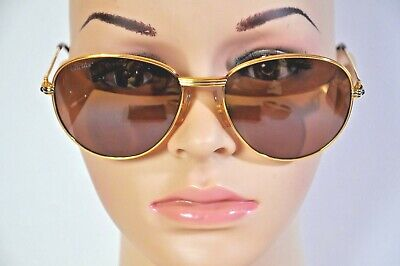 670f2f6ead Vintage Cartier 18K Gold Plated Sapphire Sunglasses 57-18