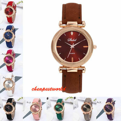 Women Girl Analog Quartz Ladies Wrist Watches Fashion Leather Strap