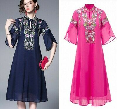 Chinese Trend Qipao Cheongsam Elegant Women A-line Dress Embroidery Floral Dress
