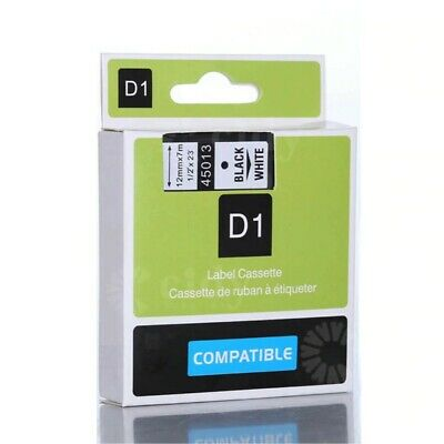UK Compatible Dymo D1 12mm Label Tape 45013 Black on White Label Ribbons