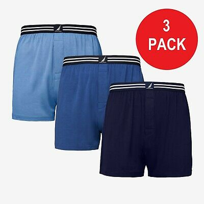 New 3 Pack Medium 32/34 Nautica Modal Cotton Knit Boxers Stretch Varied Colors