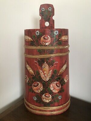 Vintage Bavarian Stick Stand - Folk Art - Rustic - Hand Painted Pine - German
