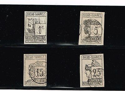 Diego-Suarez 1890 Complete Imperf. used set 1c to 25c #6-9  Lithographed Symbol
