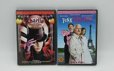 2 Lot The Pink Panther Charlie and the Chocolate Factory DVD