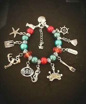 Adults Charm Bead BRACELET Snake Chain The Little Mermaid Inspired Ariel Colours
