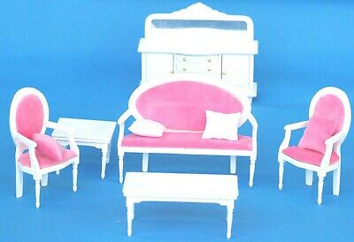 Wooden White & Pink Living Room Doll House Furniture