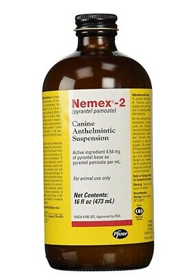 Nemex Pfizer 2 Canine Anthelmintic Suspension Dog De-Wormer 16oz