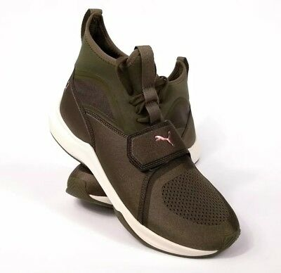 0df69a9945f1 Puma Ignite Women s Phenom Sneakers Casual Shoes Olive Night Green Pink Sz  9.5