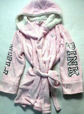69aa6c4132 Victoria s Secret Pink Bling Sherpa Cozy Plush Hooded Robe Pink About It M  L NWT