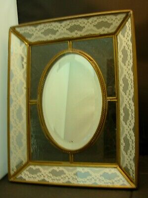 Dresser Top Mirror Brass & Beveled & Textured Glass Frame Converts To Picture Fr