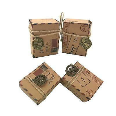 Awtlife 100 pcs Small Vintage Inspired Airmail Wedding Candy Boxes Party Gift...