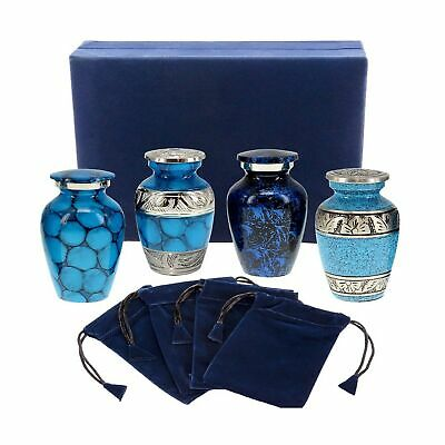Forever Remembered Classic Blue Small Mini Cremation Keepsake Urns for Human ...