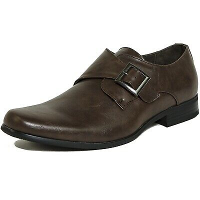 38227924b935 Alpine Swiss Mens Monk Strap Loafers Dress Shoes Brown Size 8