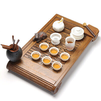 complete tea set with tea tray Wenge solid wood tea table hand carved pot cups