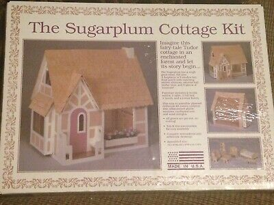 New The Sugar Plum Cottage Dollhouse Kit Set doll house wood wooden craft build