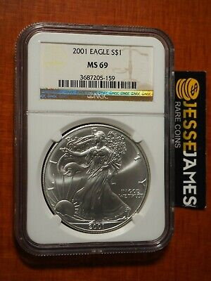 2001 $1 American Silver Eagle Ngc Ms69 Classic Brown Label