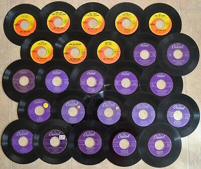 45 RPM Records - 25 Vinyl Singles Nat King Cole Lot - Capitol Records Blues Jazz