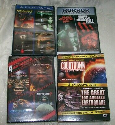 4 film pack, horror double-feature, Critters 1,2,3,4, Disaster Double Feature
