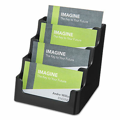 Recycled Business Card Holder, Holds 200 2 X 3 1/2 Cards, Four-pocket, Black