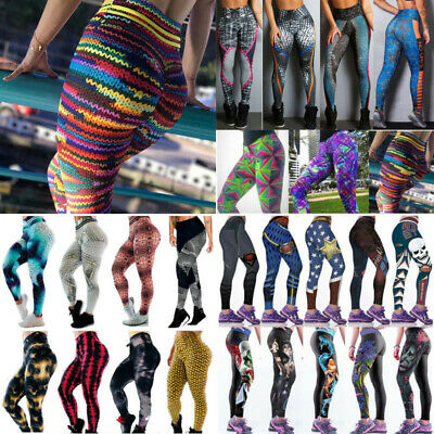 Women Sports Elastic Leggings Pants Yoga Workout Gym Fitness Athletic 3D Print