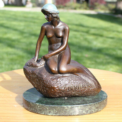 Art Deco handmade Sculpture Denmark Mermaid Nude Bronze Copper Statue