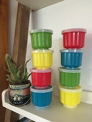 Vintage Tupperware Style Plastic Jelly Pudding Dessert Cup Mould Set of 8