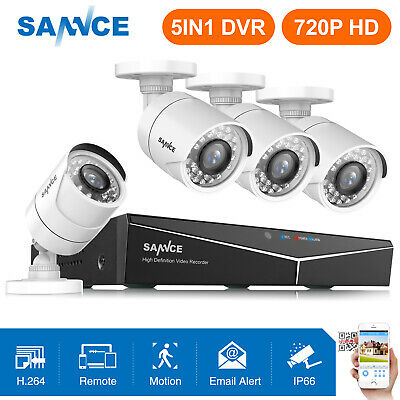 SANNCE 5in1 1080P HDMI 4CH DVR 4x 720P CCTV Security Camera System Email Alert