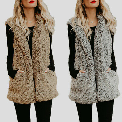 AU Women Oversized Winter Hoodies Fluffy Fur Coat Jacket Outwear Waistcoat Gilet