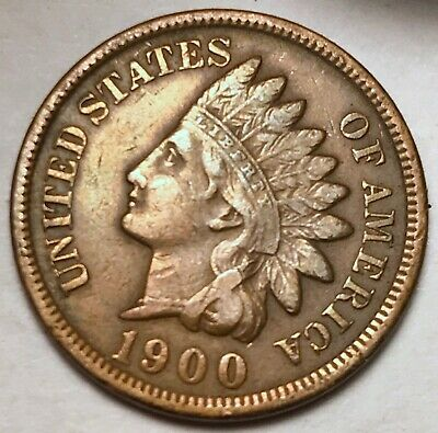 1900 Indian Head Cent Penny FULL LIBERTY VF / XF FREE SHIPPING