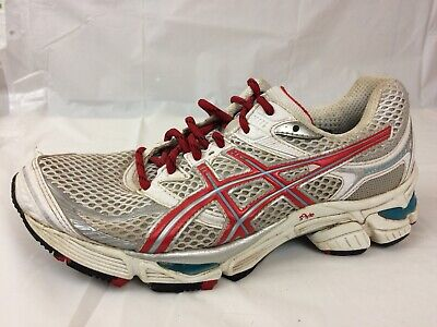 ASICS GEL CUMULUS 13 Womens 8.5 Med T199N Running Training Shoes White Red Blue