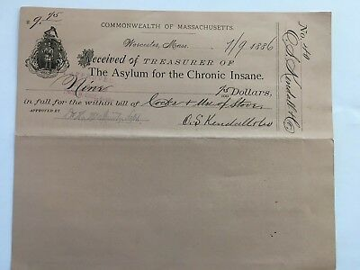 Antique 1886 MASSACHUSETTS ASYLUM FOR THE INSANE Receipt Paper - STOVE