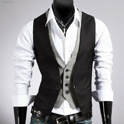 DB0D Morden Men's Top Designed Slim Skinny Dress Buttons Waistcoat Black L