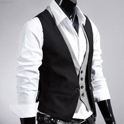 09CB Morden Men's Top Designed Slim Skinny Dress Buttons Waistcoat Black XXL