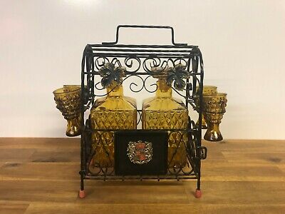 Vintage Whiskey Liquor Glass Decanter Set with Crest Metal Caddy Display Stand