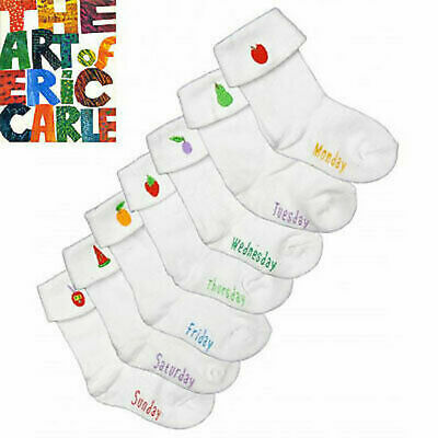 The Hungry Little Caterpillar Baby Socks, Eric Carle,  7 Pack, Size  000 - 00