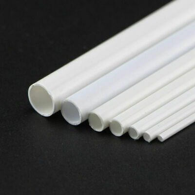 ABS Plastic Tube White Round Hollow Pipe DIY Model Crafts 250mm x 3/4/5/6/8/10mm