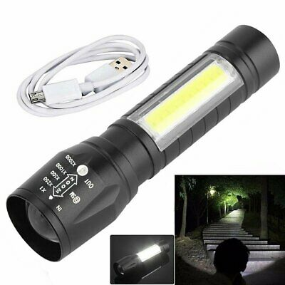 USB Rechargeable COB LED Flashlight Torch Working Lamp Light Tactical Camping