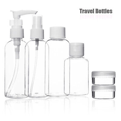 9x Travel Spray Bottles 100ml Set Plastic Cosmetic Pots Containers Airport Empty