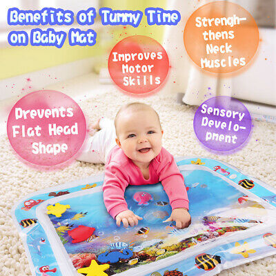 Baby Water Mat Tummy Time Inflatable Play Mat floor Activity Gym Crawling Pad US
