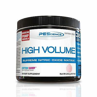 Pescience High Volume, Cotton Candy, 36 Scoops, Caffeine-Free Preworkout