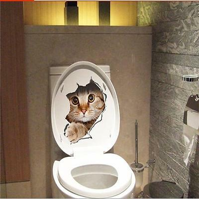 Hole View Vivid Cats Dog 3D Wall Sticker Bathroom Toilet Living Room Kitchen IT