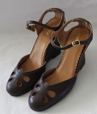 77fc1377582 JAG ~ Chocolate Brown 1940 s Look Round Toe Mary Jane Heels EU 39 US 8 UK