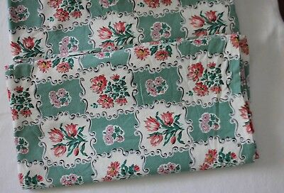 VINTAGE 1950's ~ Green White Pink Grey Floral Textured Cotton Fabric x 2 Pcs
