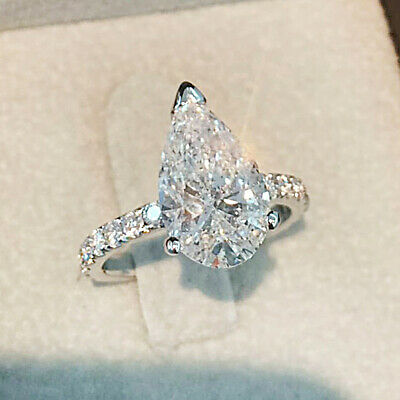 Pear Shape 2.50 Ct Diamond Engagement Wedding Ring 14K White Gold Over