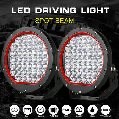 9 Inch OSRAM Round LED Driving Lights Offroad Spot 4x4 Spotlight Work Bar Black