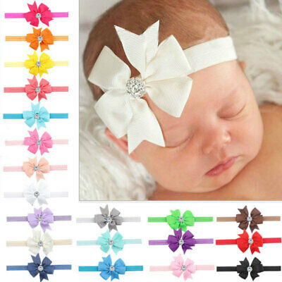 10Pcs Multi Elastic Baby Headdress Kids Hair Band Girls Bow Headband  Ribbon new