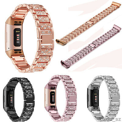 Fitbit charge 3  Replacement Stainless Strap Rhinestone Bracelet Watch band